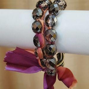 LOFT Pink Ribbon Rhinestone Stretch Bracelet #525